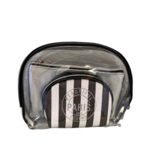 3 Piece Cosmetic Bag Set - Stripe