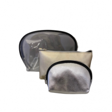 3 Piece Cosmetic Bag Set - Metallic