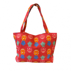 Oversized Pineapple Print Tote Bag - Red