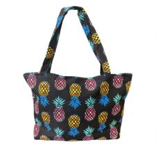 Oversized Pineapple Print Tote Bag - Black