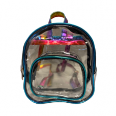 Clear Mini Backpack with Multi Color Iridescent Trim