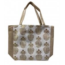 White Canvas Tote Bag With Metallic Gold Pineapple Print