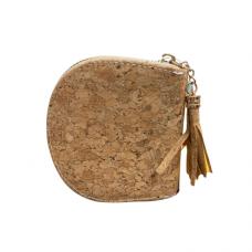 Cork Zippered Dome Coin Purse - Gold