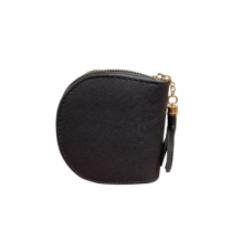 Black Leatherette Zippered Dome Coin Purse