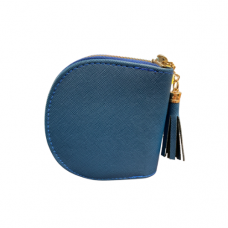 Blue Leatherette Zippered Dome Coin Purse