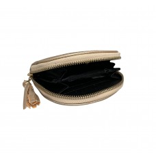 Metallic Gold Spanish Cowhide Leatherette Zippered Dome Coin Purse