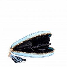Light Blue Spanish Cowhide Leatherette Zippered Dome Coin Purse