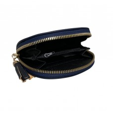 Navy Blue Spanish Cowhide Leatherette Zippered Dome Coin Purse