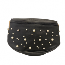 Large Crossbody Bag with Pearls - Black