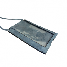 Blue Leatherette Crossbody Bag With Clear Touchable Front Pocket