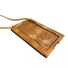Brown Leatherette Crossbody Bag With Clear Touchable Front Pocket