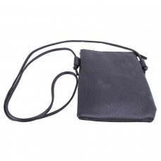 Black Spanish Leatherette Crossbody Bag With Front Cellphone Pocket