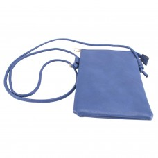 Blue Spanish Leatherette Crossbody Bag With Front Cellphone Pocket