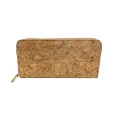 Zippered Large Cork Wallet - Gold
