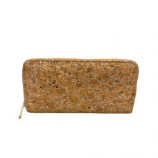 Zippered Large Cork Wallet - Silver