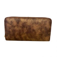 Zippered Large Wallet - Metallic Brown