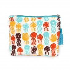 Flower and Butterfly Print Cosmetic Bag - Light Blue