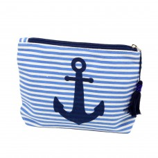 Anchor and Stripe Cosmetic Bag