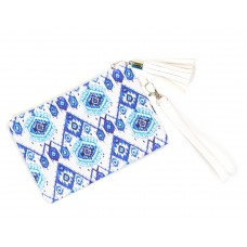 Ikat Pattern Wristlet Bag - Blue