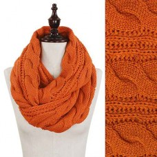 Cable Knit Scarf - Orange