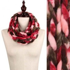 Chunky Chain Knit Infinity Scarf - Pink