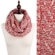 Nordic Pattern 2 Tone Infinity Scarf - Red