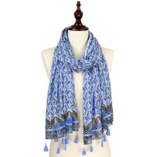 Abstract Print Scarf with Tassels - Blue