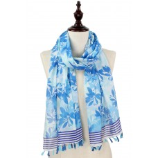 Flower and Leaf Print Scarf with Tassels - Blue