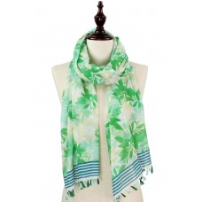 Flower and Leaf Print Scarf with Tassels - Green