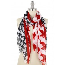 Houndstooth And Elephant Print Scarf
