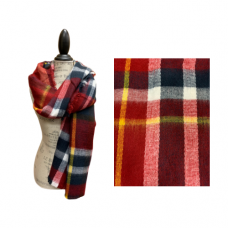 Red And Navy Brushed Plaid Blanket Scarf