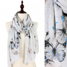 Butterfly Print Scarf with Sequin Accents