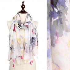 Watercolor Flower Spring Scarf - Cream