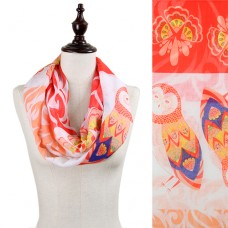 Owl and Floral Print Infinity Scarf - Coral