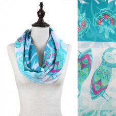 Owl and Floral Print Infinity Scarf - Turquoise