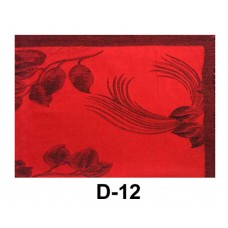 Red Pashmina Scarf With Black Rose Print