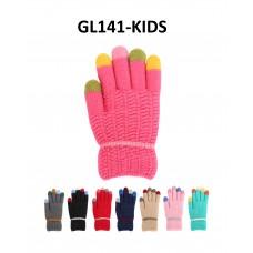 Children's Knit Gloves - Hot Pink