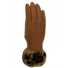 Texting Gloves With Leopard Print Trim - Brown