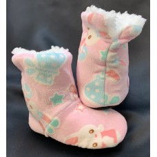 Children's Pink Bunny Print Slippers - Size 5/6