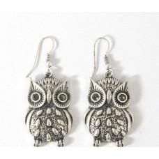 Owl Dangle Wire Earrings - Silver