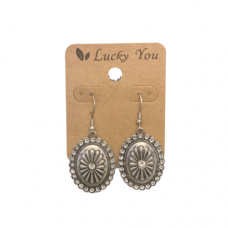 Antique Silver Oval Wire Earrings