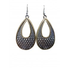 Antique Silver With Gold Dangle Wire Earrings