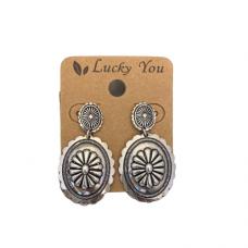 Antique Silver Oval Post Dangle Earrings
