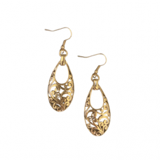 Teardrop Filigree Dangle Wire Earrings - Antique Gold