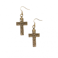 Cross Filigree Dangle Wire Earrings - Antique Gold