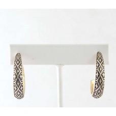 Antique Gold Cross Patterned Hoop Earrings