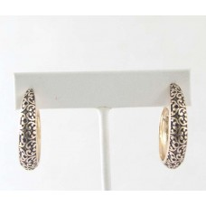 Antique Gold Scroll Patterned Hoop Earrings