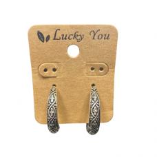 Antique Silver Design Hoop Earrings