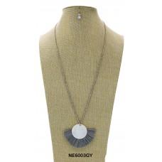 Matte Stone Raffia Pendant Bead Necklace Set With Earrings