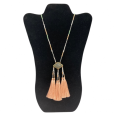 """30"""" Seed Bead Necklace with Triple Tassel Pendant - Gray and Peach"""